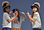 """CRAYON POP, July 22, 2015 : Cho-A, Way, Korean girl group Crayon Pop perform during the promotion event for their new single """"ra ri ru re"""" at Lazona Kawasaki Plaza in Kawasaki, kanagawa prefecture, Japan, on July 22, 2015. They performed the opening act for Lady Gaga's """"ArtRave: The Artpop Ball concert tour"""" in twelve cities across North America on 2014."""