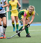 GER - Mannheim, Germany, May 24: During the U16 Girls match between Australia (green) and Germany (white) during the international witsun tournament on May 24, 2015 at Mannheimer HC in Mannheim, Germany. Final score 0-6 (0-3). (Photo by Dirk Markgraf / www.265-images.com) *** Local caption *** Lucy Wootton #12 of Australia
