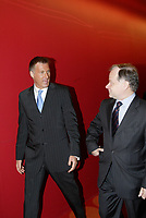 Montreal (QC) CANADA, May 22 2007-<br /> <br /> Maxime Bernier, Minister of Industry, Canada (L) arrive with<br /> Raymond Bachand, Minister MDEIE and Minister Tourism, Quebec (R)  at the<br /> Press conference of P3G (public Population Projet) in Genomics to foster harmonization genomic data collection and to share those datas.<br /> <br /> photo : (c) Pierre Roussel -  images Distribution