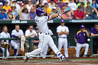 LSU Tigers shortstop Alex Bregman (8) swings the bat against the TCU Horned Frogs in the NCAA College World Series on June 14, 2015 at TD Ameritrade Park in Omaha, Nebraska. TCU defeated LSU 10-3. (Andrew Woolley/Four Seam Images)