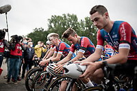 a minute of silence at the start of the race for the day-earlier deceased Niels De Vriendt with his teammates at the front of the peloton<br /> <br /> at the start of the inaugural GP Vermarc 2020, which is the very first pro cycling race in Belgium after the covid19 lockdown of Spring 2020 & which was only set up some weeks in advance to accommodate belgian teams by providing racing opportunities asap after the lockdown allowed for racing to restart (but still under strict quarantine / social distancing measures for the public, riders & press)<br /> <br /> Rotselaar (BEL), 5 july 2020<br /> ©kramon