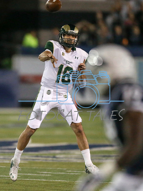 Colorado State quarterback Garrett Grayson (18) passes against Nevada during the first half of an NCAA college football game in Reno, Nev., on Saturday, Oct. 11, 2014. Colorado State won 31-24. (AP Photo/Cathleen Allison)