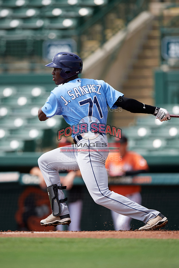 Tampa Bay Rays Jesus Sanchez (71) at bat during an Instructional League game against the Baltimore Orioles on October 2, 2017 at Ed Smith Stadium in Sarasota, Florida.  (Mike Janes/Four Seam Images)