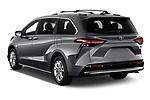 Car pictures of rear three quarter view of 2021 Toyota Sienna Platinum 5 Door Minivan Angular Rear