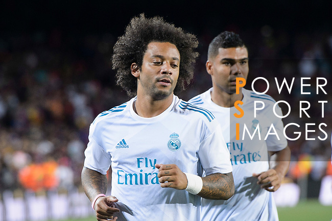 Marcelo da Silva of Real Madrid warming up during the Supercopa de Espana Final 1st Leg match between FC Barcelona and Real Madrid at Camp Nou on August 13, 2017 in Barcelona, Spain. Photo by Marcio Rodrigo Machado / Power Sport Images