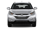 Car photography straight front view of a 2015 Hyundai Tucson SE Awd 5 Door Suv 2WD Front View