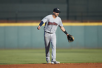 Scranton/Wilkes-Barre RailRiders shortstop Tyler Wade (9) on defense against the Gwinnett Stripers at Coolray Field on August 17, 2019 in Lawrenceville, Georgia. The Stripers defeated the RailRiders 8-7 in eleven innings. (Brian Westerholt/Four Seam Images)