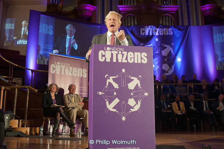 London Mayoral candidate Boris Johnson.  London Citizens Mayoral Accountability Assembly, Central Hall, Westminster.