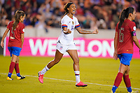 HOUSTON, TX - FEBRUARY 03: Jessica McDonald #14 of the United States scores a goal and celebrates during a game between Costa Rica and USWNT at BBVA Stadium on February 03, 2020 in Houston, Texas.
