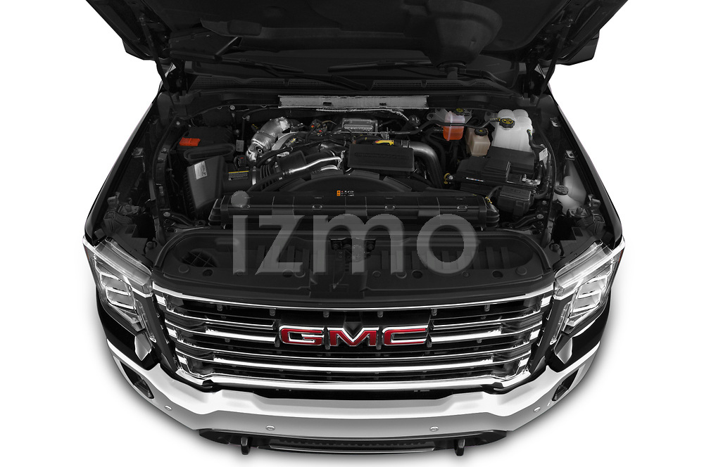 Car Stock 2020 GMC Sierra-2500-HD SLT 4 Door Pick-up Engine  high angle detail view