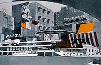 London: Gordon Cullen South Embankment Scheme. TOWNSCAPE 1961.