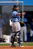 Tampa Bay Rays catcher Dawson Dimon (83) during a Minor League Spring Training game against the Baltimore Orioles on April 23, 2021 at Charlotte Sports Park in Port Charlotte, Florida.  (Mike Janes/Four Seam Images)