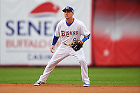 Buffalo Bisons shortstop Andy Burns (8) during a game against the Durham Bulls on June 13, 2016 at Coca-Cola Field in Buffalo, New York.  Durham defeated Buffalo 5-0.  (Mike Janes/Four Seam Images)