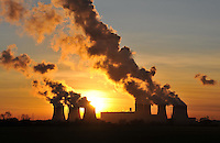 Drax Power Station at sunset.The largest coal powered plant in UK, Goole, North Humberside.