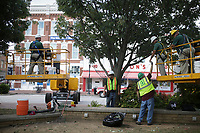 Bentonville Parks and Recreation staff install Christmas lights, Monday, September 13, 2021 at the Downtown Square in Bentonville. They are installing about 35 miles of Christmas lights along the trees and landscaping at the square. They are also adding additional decorations at Lawrence Plaza. Check out nwaonline.com/210914Daily/ for today's photo gallery. <br /> (NWA Democrat-Gazette/Charlie Kaijo)