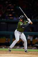 Biloxi Shuckers center fielder Corey Ray (1) at bat during a game against the Jacksonville Jumbo Shrimp on June 8, 2018 at Baseball Grounds of Jacksonville in Jacksonville, Florida.  Biloxi defeated Jacksonville 5-3.  (Mike Janes/Four Seam Images)