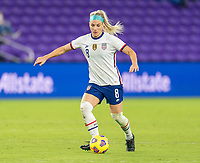 ORLANDO, FL - JANUARY 22: Julie Ertz #8 of the USWNT dribbles during a game between Colombia and USWNT at Exploria stadium on January 22, 2021 in Orlando, Florida.