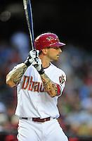 Apr. 26, 2011; Phoenix, AZ, USA; Arizona Diamondbacks infielder Ryan Roberts against the Philadelphia Phillies at Chase Field. Mandatory Credit: Mark J. Rebilas-