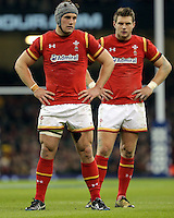 (L-R) Jonathan Davies and Dan Biggar of Wales during the Wales v France, 2016 RBS 6 Nations Championship, at the Principality Stadium, Cardiff, Wales, UK