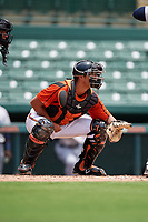 GCL Orioles catcher Alfredo Gonzalez (34) during a game against the GCL Rays on July 21, 2017 at Ed Smith Stadium in Sarasota, Florida.  GCL Orioles defeated the GCL Rays 9-0.  (Mike Janes/Four Seam Images)
