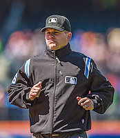 21 April 2013: MLB Umpire Mike Muchlinski works at first base during a game between the New York Mets and the Washington Nationals at Citi Field in Flushing, NY. The Mets shut out the visiting Nationals 2-0, taking the rubber match of their 3-game weekend series. Mandatory Credit: Ed Wolfstein Photo *** RAW (NEF) Image File Available ***