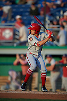 Auburn Doubledays Anthony Peroni (5) at bat during a NY-Penn League game against the Batavia Muckdogs on August 31, 2019 at Dwyer Stadium in Batavia, New York.  Auburn defeated Batavia 12-5.  (Mike Janes/Four Seam Images)