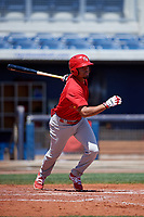 Palm Beach Cardinals shortstop Edmundo Sosa (3) follows through on a swing during a game against the Charlotte Stone Crabs on April 12, 2017 at Charlotte Sports Park in Port Charlotte, Florida.  Palm Beach defeated Charlotte 8-7 in ten innings.  (Mike Janes/Four Seam Images)
