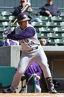 Brett Garner of James Madison University hitting in a game against UC Irvine at the Baseball at the Beach Tournament held at BB&T Coastal Field in Myrtle Beach, SC on February 28, 2010.