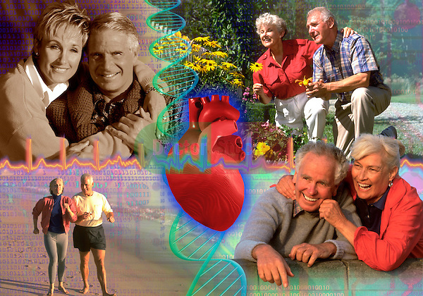 metaphoric composite photo illustration with icons of elder health including heart and happy healthy active elderly couples