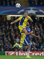 Tal Ben Haim I(former Chelsea player) of Maccabi Tel Aviv beats Diego Costa of Chelsea in the air during the UEFA Champions League match between Chelsea and Maccabi Tel Aviv at Stamford Bridge, London, England on 16 September 2015. Photo by Andy Rowland.