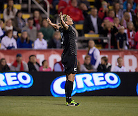 Hannah Wilkinson (17) of New Zealand celebrates her goal during an international friendly at Crew Stadium in Columbus, OH. The USWNT tiedNew Zealand, 1-1.