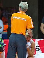 Arena Loire,  Trélazé,  France, 16 April, 2016, Semifinal FedCup, France-Netherlands, Doubles: Hogenkamp is comfort after her los by coach Martin Bohm(NED)<br /> Photo: Henk Koster/Tennisimages