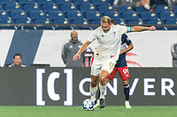FOXBOROUGH, MA - AUGUST 5: Robert Kristo #11 of North Carolina FC passes the ball during a game between North Carolina FC and New England Revolution II at Gillette Stadium on August 5, 2021 in Foxborough, Massachusetts.