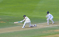 NZ's Trent Boult hits a six during day three of the International Test Cricket match between the New Zealand Black Caps and India at the Basin Reserve in Wellington, New Zealand on Sunday, 23 February 2020. Photo: Dave Lintott / lintottphoto.co.nz