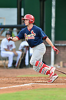 Johnson City Cardinals first baseman Hunter Newman (32) swings at a pitch during a game against the Elizabethton Twins on July 30, 2015 in Elizabethton, Tennessee. The Twins defeated the Cardinals 13-4. (Tony Farlow/Four Seam Images)