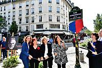 Nathalie KOSCIUSKO-MORIZET, Pia MOUSTAKI, Florence BERTHOUT, Anne HIDALGO - Inauguration Place Georges Moustaki - 23/5/2017 - Paris - France