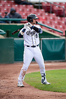 Kane County Cougars catcher Zachery Almond (9) on deck during a Midwest League game against the Cedar Rapids Kernels at Northwestern Medicine Field on April 28, 2019 in Geneva, Illinois. Kane County defeated Cedar Rapids 3-2 in game one of a doubleheader. (Zachary Lucy/Four Seam Images)