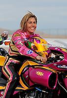 Nov. 1, 2008; Las Vegas, NV, USA: NHRA pro stock motorcycle rider Valerie Thompson during qualifying for the Las Vegas Nationals at The Strip in Las Vegas. Mandatory Credit: Mark J. Rebilas-