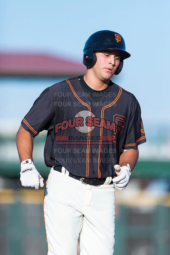 AZL Giants Orange designated hitter Sean Roby (5) rounds the bases after hitting a home run during an Arizona League game against the AZL Rangers at Scottsdale Stadium on August 4, 2018 in Scottsdale, Arizona. The AZL Giants Black defeated the AZL Rangers by a score of 3-2 in the first game of a doubleheader. (Zachary Lucy/Four Seam Images)