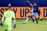 CARSON, CA - OCTOBER 18: Yony Gonzalez #11 of the Los Angeles Galaxy and Ali Adnan #53 of the Vancouver Whitecaps battle for a ball during a game between Vancouver Whitecaps and Los Angeles Galaxy at Dignity Heath Sports Park on October 18, 2020 in Carson, California.
