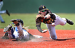 Galena's Andrew West dives for a throw as Basic's David Hudleson reaches second on a fielding error during NIAA DI baseball action at Bishop Manogue High School, in Reno, Nev., on Friday, May 20, 2016. Basic won 7-3 to advance to the championship. Cathleen Allison/Las Vegas Review-Journal