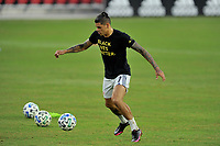 WASHINGTON, DC - SEPTEMBER 27: Gustavo Bou #7 of New England Revolution warming up during a game between New England Revolution and D.C. United at Audi Field on September 27, 2020 in Washington, DC.