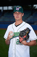 Jamestown Jammers pitcher Justin Topa (27) poses for a photo before a game against the State College Spikes on September 3, 2013 at Russell Diethrick Park in Jamestown, New York.  State College defeated Jamestown 3-1.  (Mike Janes/Four Seam Images)