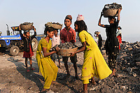 INDIA Jharkhand Dhanbad Jharia, children collect coal from dumping site of COAL INDIA coalfield to sell as coking coal on the market for the livelihood of her family, girl Suman 11 years old / INDIEN Jharkand Dhanbad Jharia, Kinder sammeln Kohle auf einer Abraumhalde am Rande eines Kohletagebaus zum Verkauf als Koks auf dem Markt, Maedchen Suman 11 Jahre, Hintergrund brennender Kohleabraum