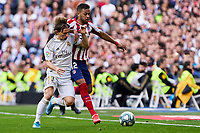 Luka Modric of Real Madrid and Renan Lodi of Atletico de Madrid during La Liga match between Real Madrid and Atletico de Madrid at Santiago Bernabeu Stadium in Madrid, Spain. February 01, 2020. (ALTERPHOTOS/A. Perez Meca)<br /> 01/02/2020 <br /> Liga Spagna 2019/2020 <br /> Real Madrid - Atletico Madrid  <br /> Foto Alterphotos / Insidefoto <br /> ITALY ONLY