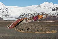 Rubble of the bridge at Skeidararbru. The bridge where destroyed 1996 after an eruption under the Vatnajoekull glacier. 50.000 m3/sek foating down and bring icebergs up to 1.000-2.000 tons.<br /> Truemmer einer Bruecke bei Skeidararbru. Die Bruecke wurde nach einer Eruption unter dem Vatnajoekull-Gletscher von Wasser und Eismassen zerstoert. 2 Tage nach der Eruption flossen 50.000 m3/sek in das Tal unterhalb des Gletschers und schwemmten Eisberge bis zu 1.000-2.000 Tonnen Gewicht mit.<br /> 19.3.2016, Skeidararbru<br /> Copyright: Christian-Ditsch.de<br /> [Inhaltsveraendernde Manipulation des Fotos nur nach ausdruecklicher Genehmigung des Fotografen. Vereinbarungen ueber Abtretung von Persoenlichkeitsrechten/Model Release der abgebildeten Person/Personen liegen nicht vor. NO MODEL RELEASE! Nur fuer Redaktionelle Zwecke. Don't publish without copyright Christian-Ditsch.de, Veroeffentlichung nur mit Fotografennennung, sowie gegen Honorar, MwSt. und Beleg. Konto: I N G - D i B a, IBAN DE58500105175400192269, BIC INGDDEFFXXX, Kontakt: post@christian-ditsch.de<br /> Bei der Bearbeitung der Dateiinformationen darf die Urheberkennzeichnung in den EXIF- und  IPTC-Daten nicht entfernt werden, diese sind in digitalen Medien nach §95c UrhG rechtlich geschuetzt. Der Urhebervermerk wird gemaess §13 UrhG verlangt.]