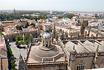 View from La Giralda over the roofs of the cathedral towards the Rio Gaudalquivir in Seville, Spain.