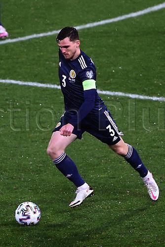 12th November 2020; Belgrade, Serbia; European International Football Playfoff Final, Serbia versus Scotland;  Andrew Robertson Scotland breaks forward on the ball
