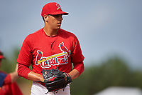 St. Louis Cardinals pitcher Steven Farinaro (18) during practice before a Minor League Spring Training game against the New York Mets on March 31, 2016 at Roger Dean Sports Complex in Jupiter, Florida.  (Mike Janes/Four Seam Images)