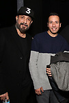 """AJ McLean and Howie Dorough from the Backstreet Boys backstage with the cast and crew of  """"Avenue Q""""  at the New World Stages on January 27, 2019 in New York City."""